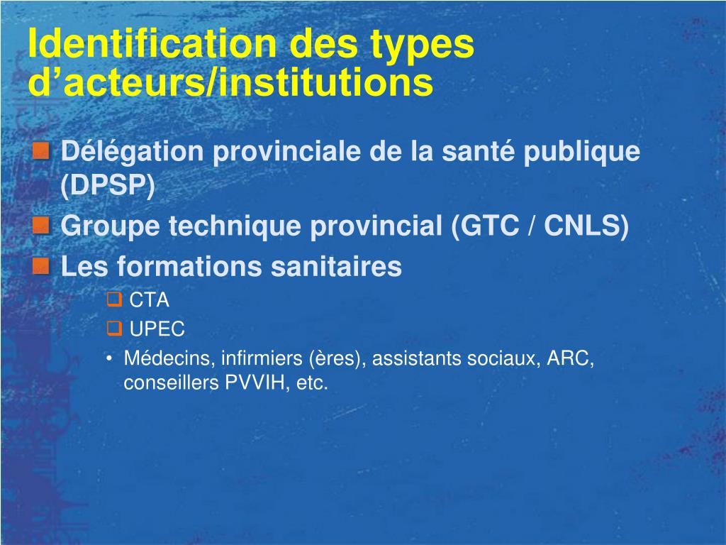 Identification des types d'acteurs/institutions