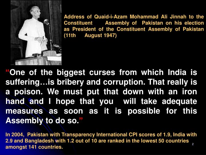Address of Quaid-i-Azam Mohammad Ali Jinnah to the 			Constituent 	Assembly of  Pakistan on his e...