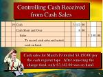 controlling cash received from cash sales