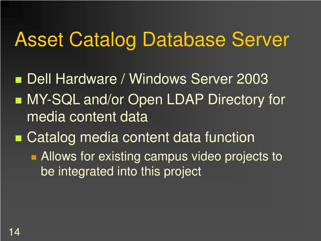 Asset Catalog Database Server