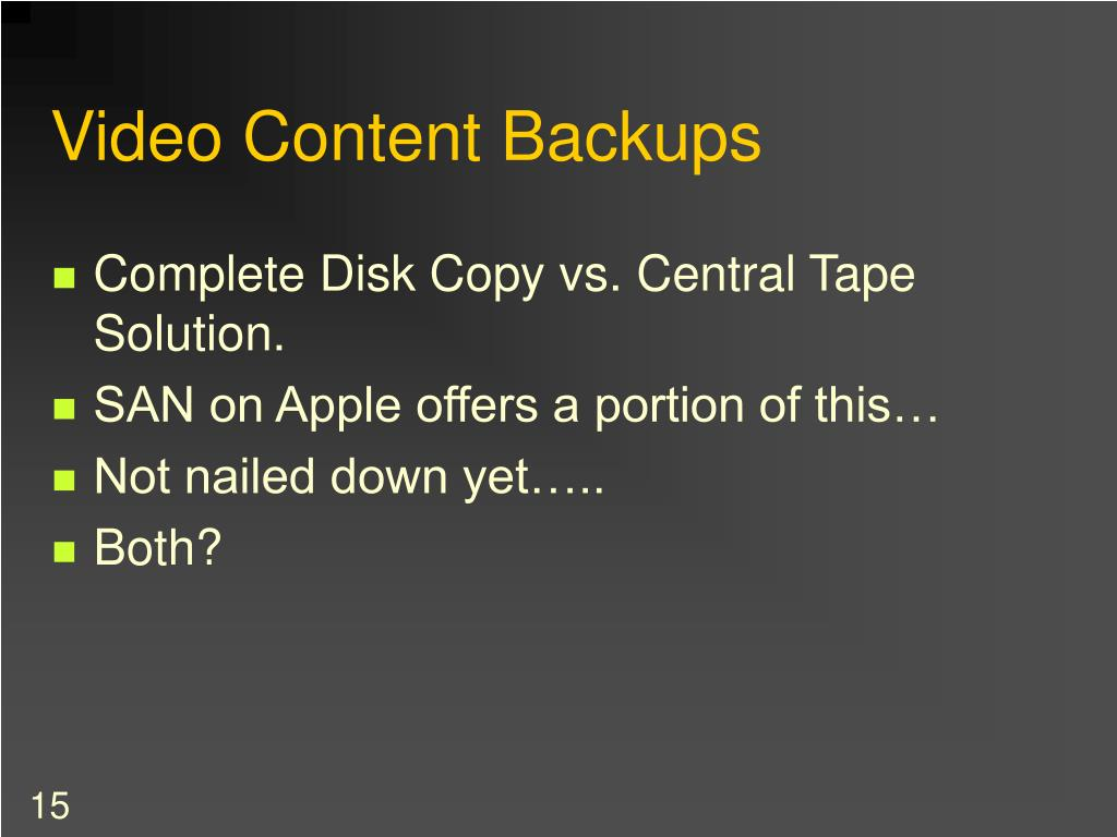 Video Content Backups