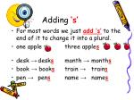 adding s