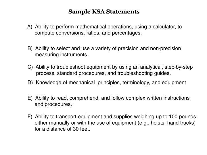 Sample KSA Statements