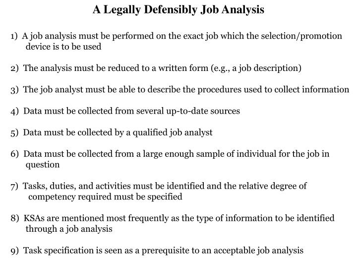 A Legally Defensibly Job Analysis
