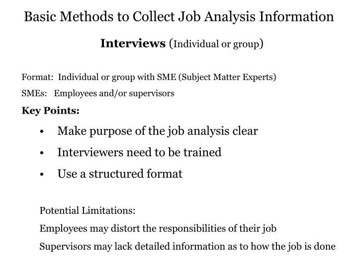 Basic Methods to Collect Job Analysis Information