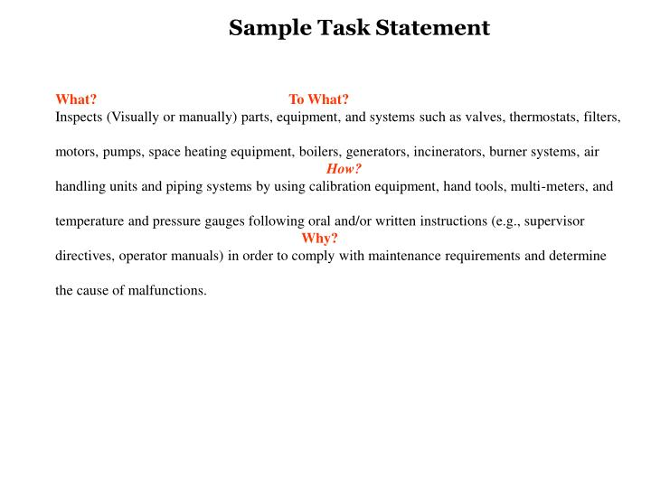 Sample Task Statement