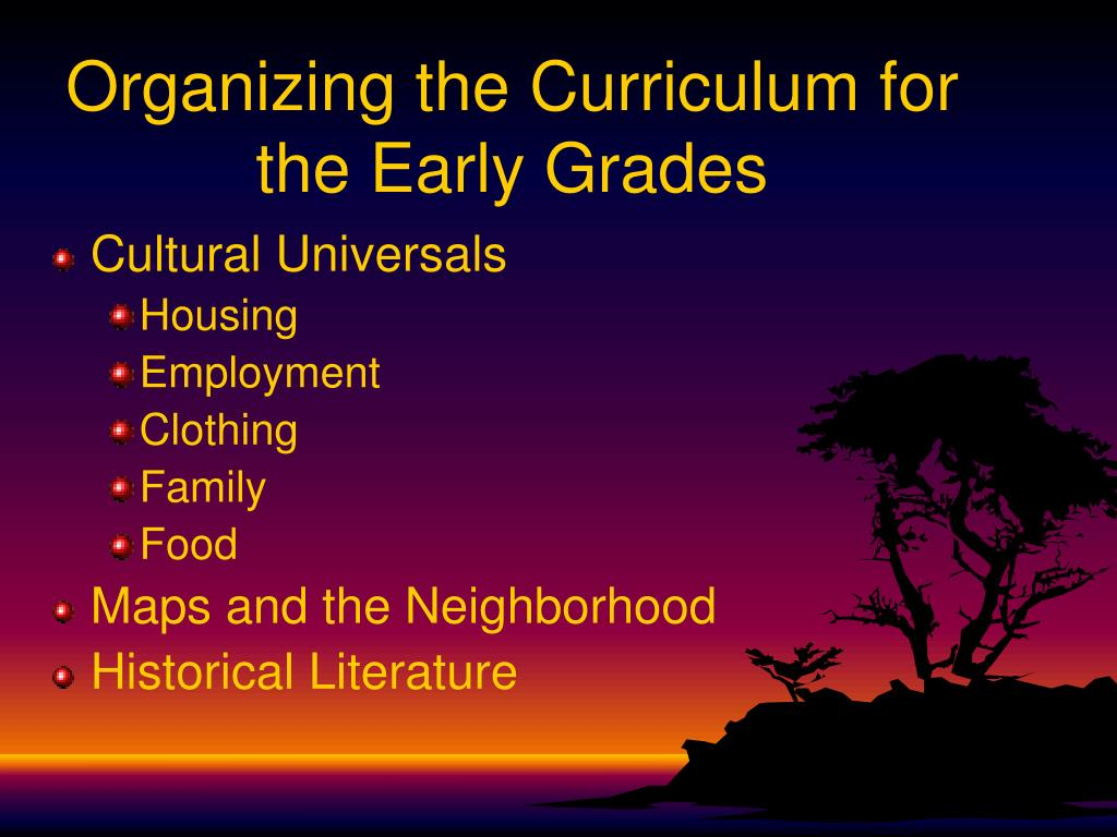 Organizing the Curriculum for the Early Grades