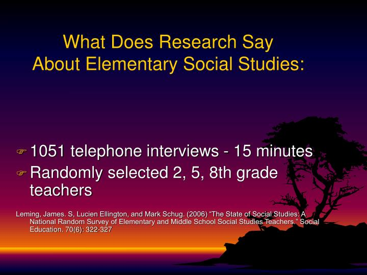 What does research say about elementary social studies