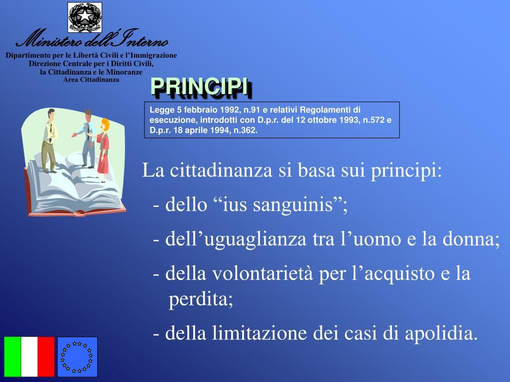Ppt la cittadinanza italiana powerpoint presentation for Ministero interno r