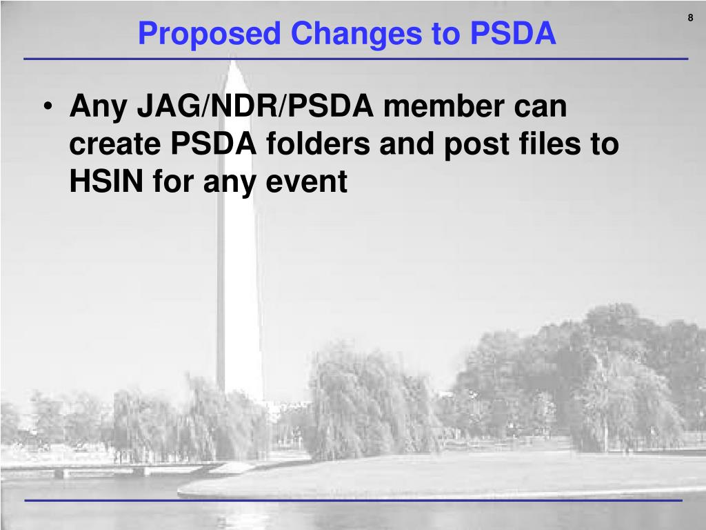 Proposed Changes to PSDA