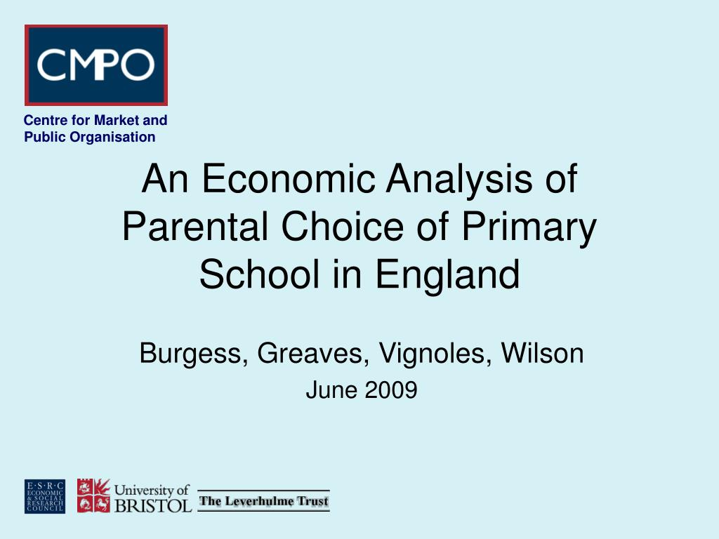 an economic analysis of parental choice of primary school in england l.