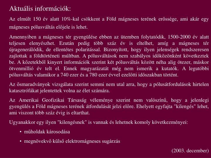 Aktuális információk: