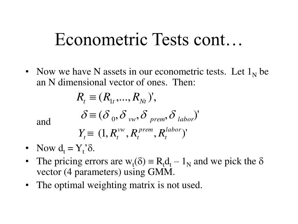 Econometric Tests cont…