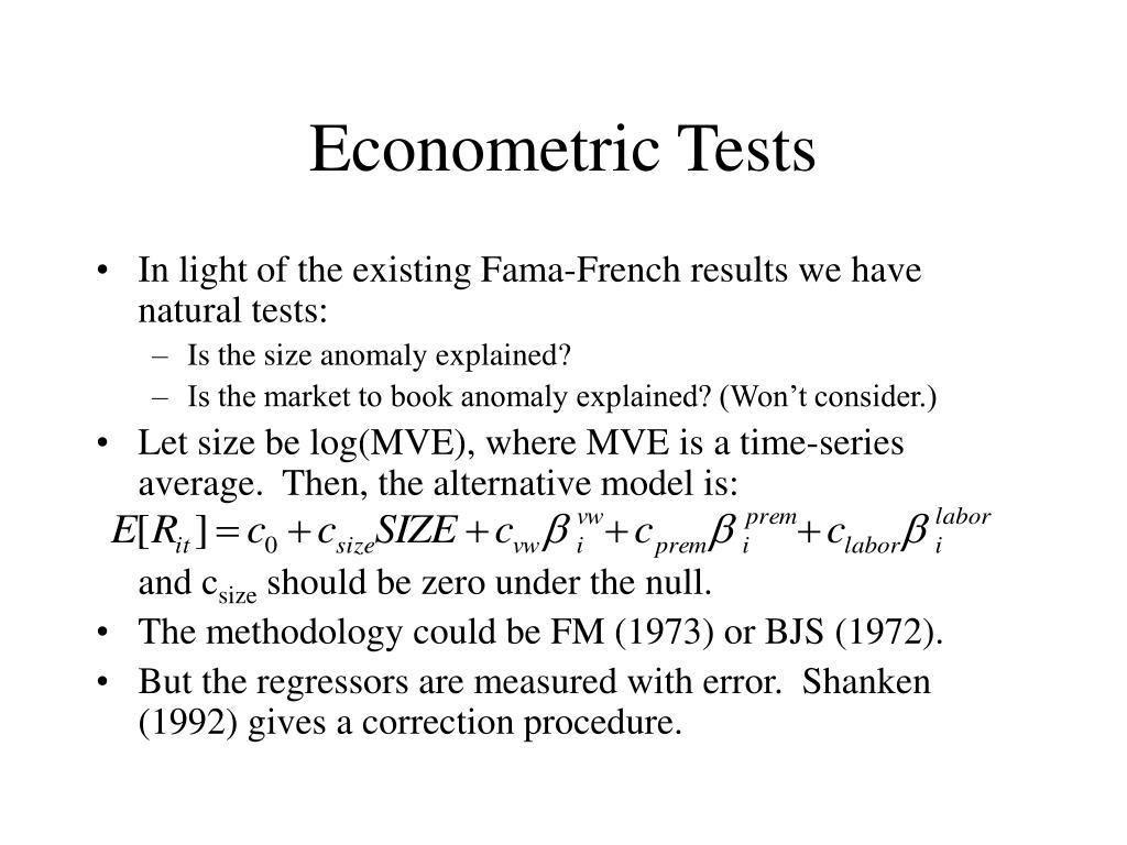 Econometric Tests