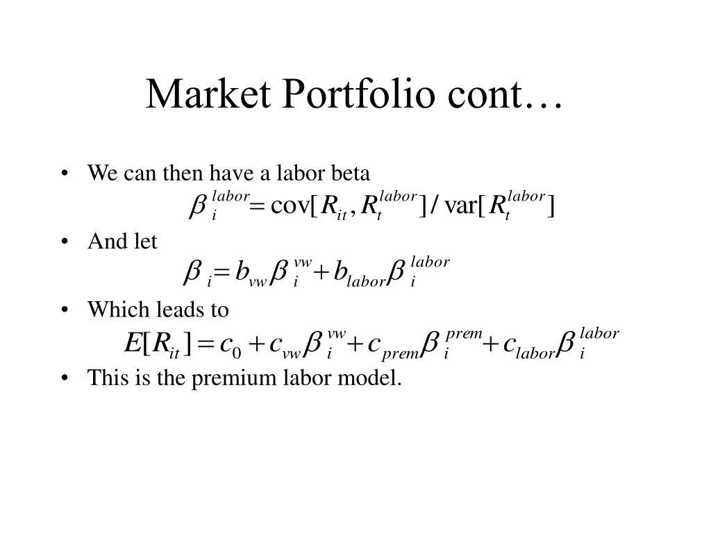 Market Portfolio cont…