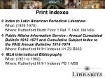 print indexes