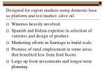 designed for export markets using domestic base as platform and test market olive oil