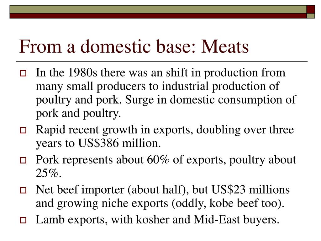 From a domestic base: Meats