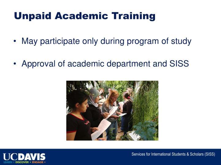 Unpaid Academic Training