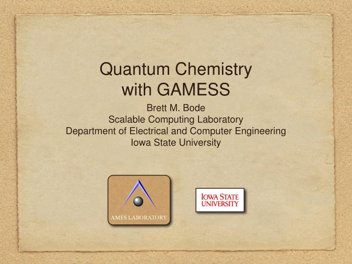 quantum chemistry with gamess n.