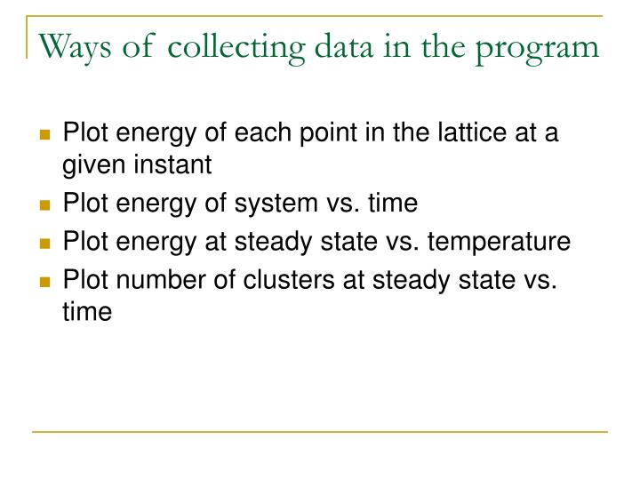 Ways of collecting data in the program