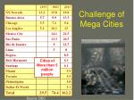 challenge of mega cities