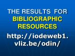 the results for bibliographic resources