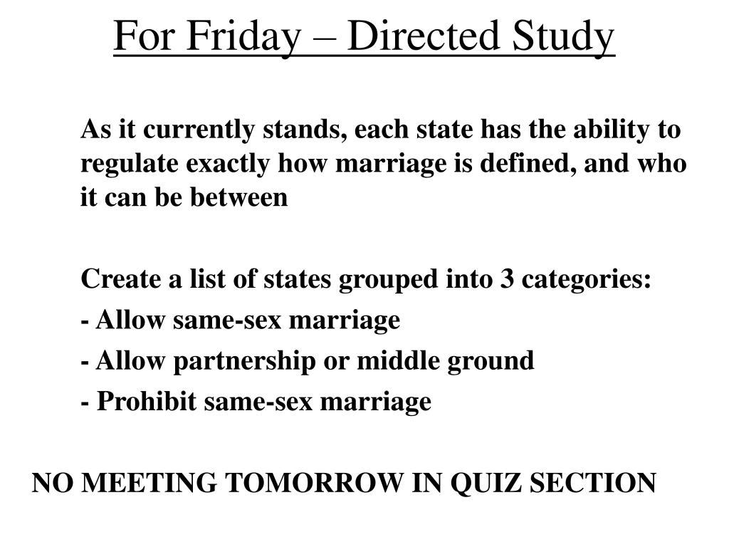 For Friday – Directed Study