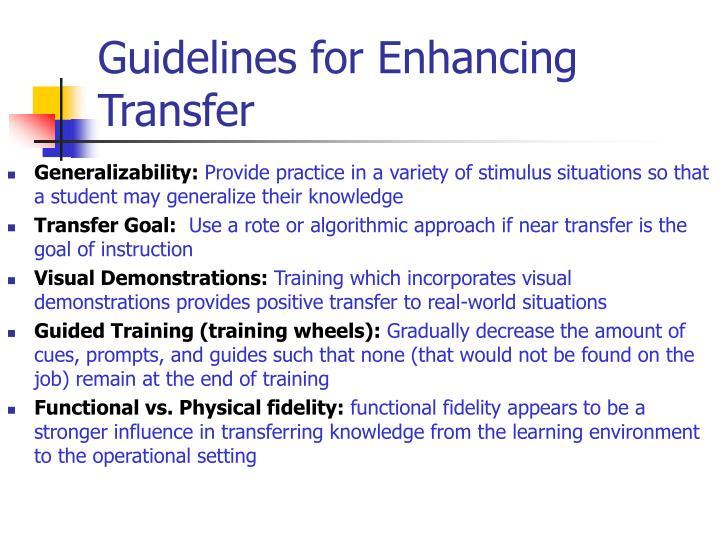 Guidelines for Enhancing Transfer