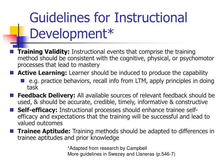 Guidelines for Instructional Development*
