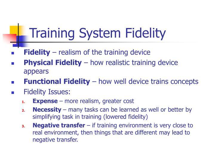 Training System Fidelity