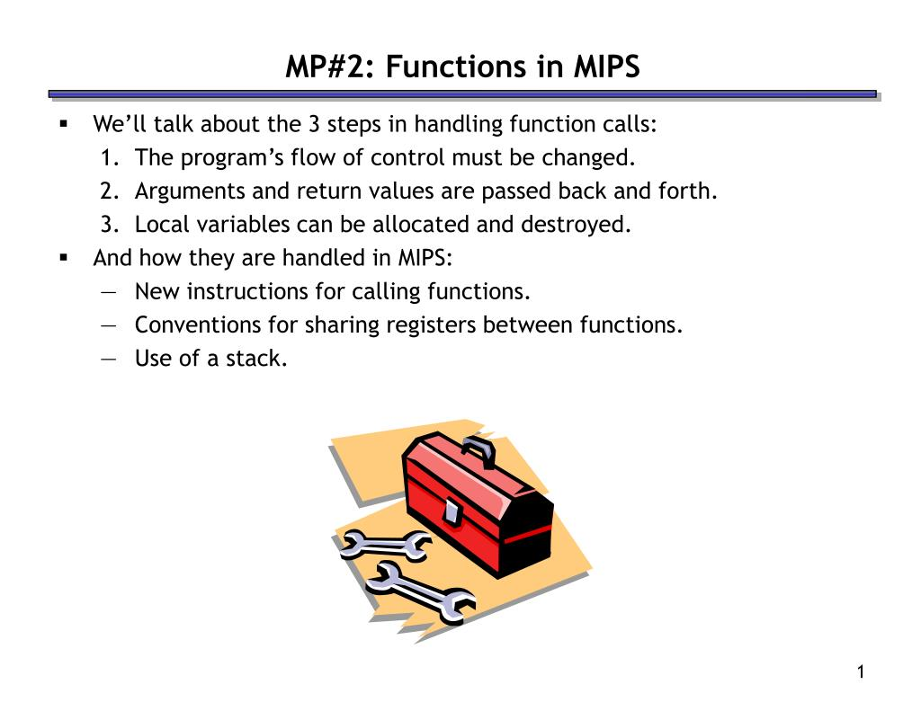 mp 2 functions in mips