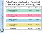 sales forecast by service two month sales plan for acme consulting 2003