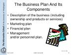 the business plan and its components