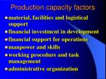 production capacity factors