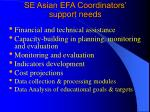 se asian efa coordinators support needs