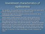 investment characteristics of agribusiness