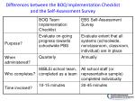 differences between the boq implementation checklist and the self assessment survey