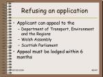 refusing an application