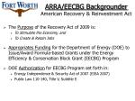 arra eecbg backgrounder american recovery reinvestment act