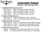 conservation program projects 2001 through 2012