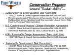 conservation program toward sustainability