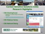 context sensitive solutions css research highlights
