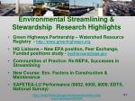 environmental streamlining stewardship research highlights