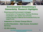 environmental streamlining stewardship research highlights42