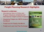 freight planning research highlights