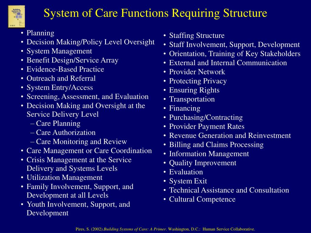 System of Care Functions Requiring Structure