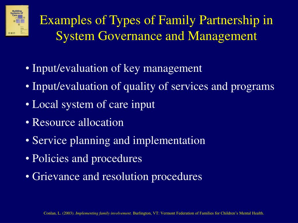 Examples of Types of Family Partnership in System Governance and Management