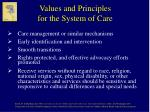 values and principles for the system of care8