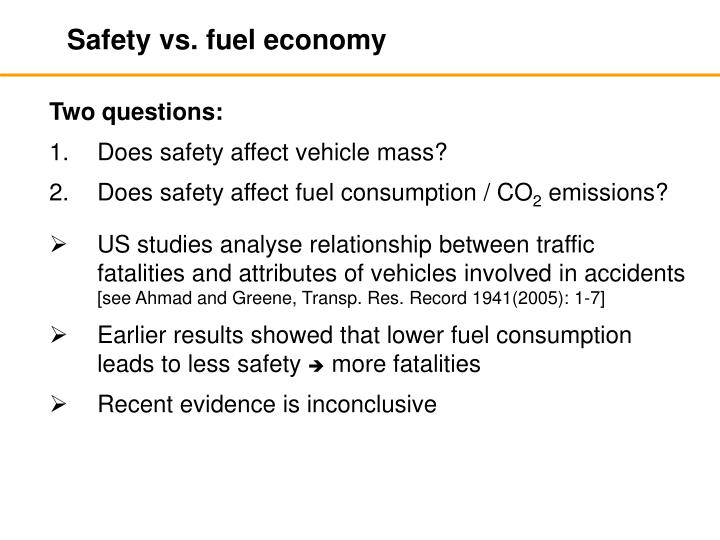 Safety vs. fuel economy